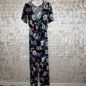 Band of Gypsies Blue Tie front floral jumpsuit M